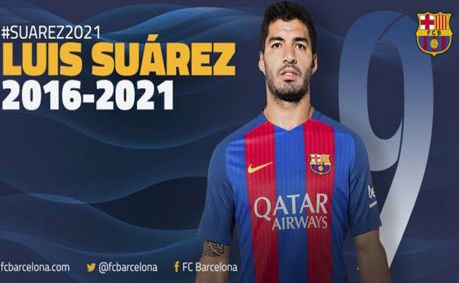 سواريز يجدد عقده مع فريق برشلونة