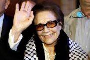 جميلة بوحيرد والتي طعنت في 2009 بخنجر الغدر وقرأ عليها البرلمان تونسي الفاتحة في 2015 وغضبت من اجل فيلمها في 2017
