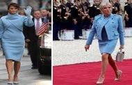 سيدة فرنسا تقلد سيدة أمريكا وماكرون ببذلة متواضعة