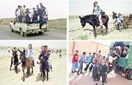رفع راسك يا با في بلد البترول والغاز تلاميذ يذهبون إلى مدارسهم في شاحنات نقل البضائع والحيوانات
