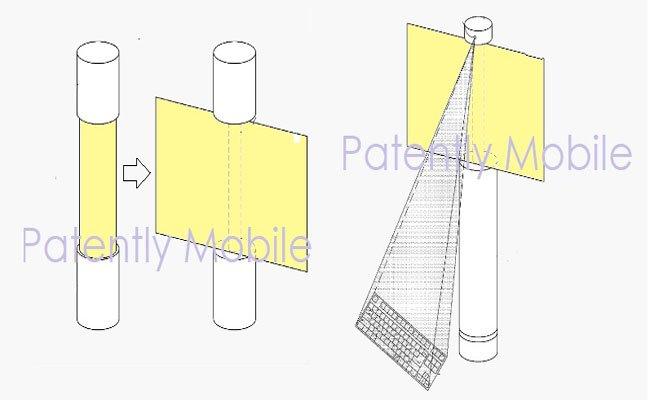 أخر براءة اختراع من سامسونج : شاشة مرنة وبروجكتور سيستعمل لعرض لوحة مفاتيح افتراضية