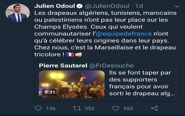 يا رخاص الفرنسيين لا يريدون رؤية أعلام الجزائر ولا يريدونكم أن تحتفلوا معهم