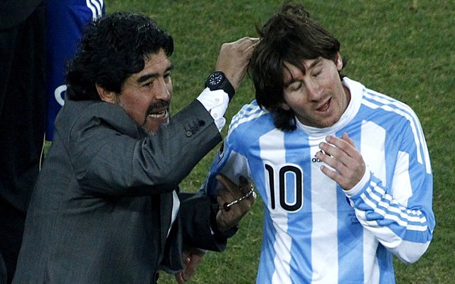 مارادونا يستهزأ من ميسي / لا يمكن أن تصنع قائدا من رجل يذهب للمرحاض 20 مرة