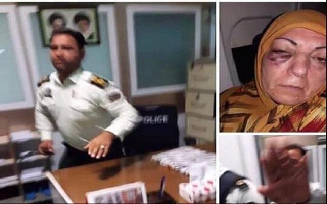في مطار إيراني ضابط يعتدي بوحشية على عراقية مسنة
