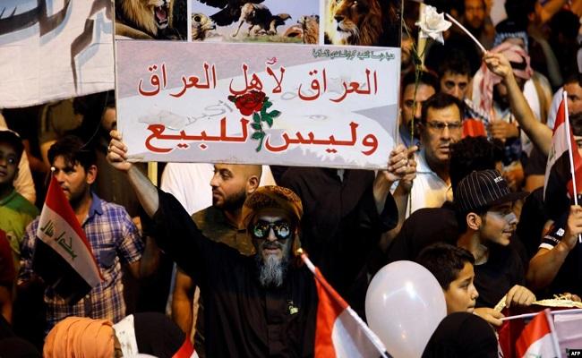 المتظاهرين العراقيين يضربون عن الطعام...